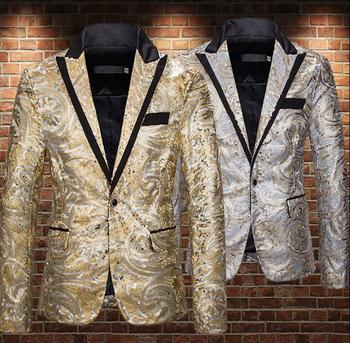 Golden sequins blazer men A buckle suits designs jacket mens stage costumes for singers clothes dance star style dress