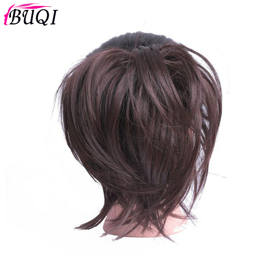 BUQI New Women Elastic Straight Bun Donut Chignon Rubber Band 11 Color Synthetic Hair Ring For Ponytail Hairpieces