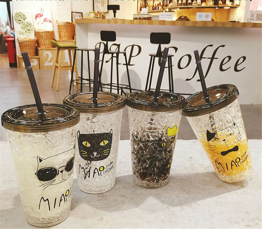 Creative Summer Ice Cup Double Plastic Ice Cup Straw Fruit Cup Chilled Crushed Ice Cup
