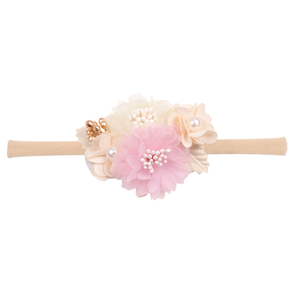 IBOWS Hair Accessories Lovely Baby Headband Fake Flower Nylon Hair Bands For Kids Artificial Floral Elastic Head Bands Headwear 5