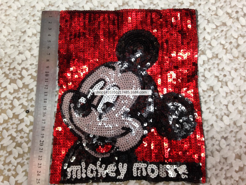 25CM Cartoon Mickey Sequins Patches Sew On Clothing Fabric Sewing Clothes  Bags