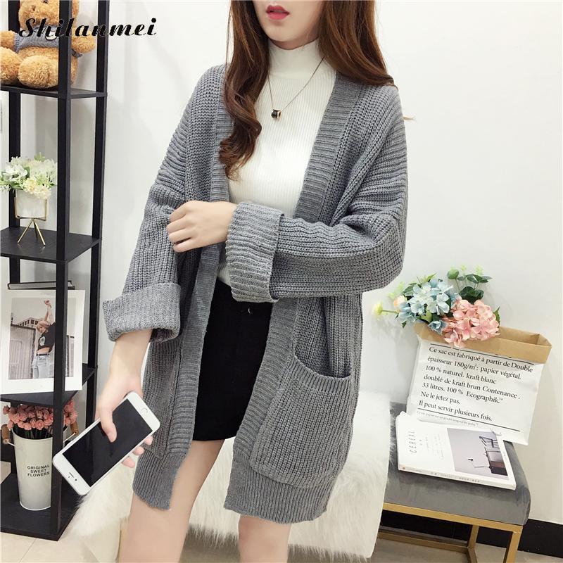 2019 Korean Cardigan Sweater Autumn Long Sleeve Winter Sweaters Jumper Pull Women Fashion Gray Knitted Women Sweater Cardigan