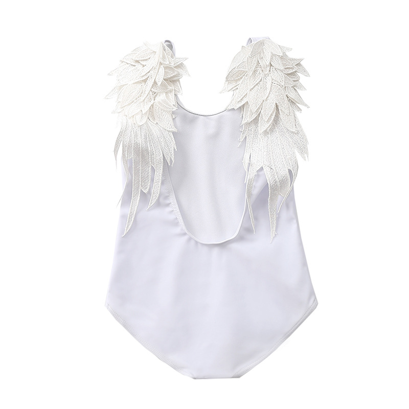INS-New KID'S Swimwear Baby Infant Europe And America Angel Wings One-piece Swimwear Girls Feather Tour Bathing Suit