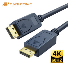 Cabletime dp para dp cabo 4k 60hz displayport 1.2 adaptador azul para dispositivos de exibição projetor computador portátil dp cabo n400