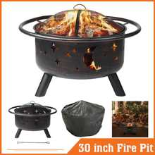 Stove Fire-Frame Gril Portable Camping-Firepit with Mesh-Screen Durability Wood-Burning