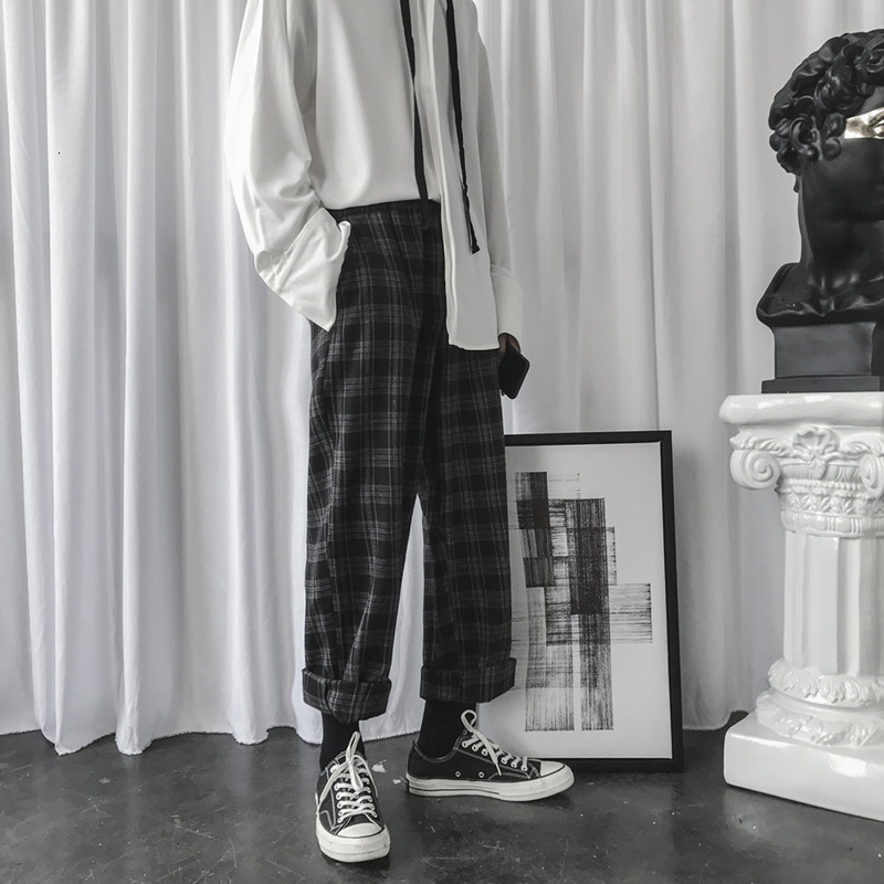 Winter Woolen Pants Men Fashion Retro Casual Plaid Trousers Man Streetwear Hip Hop Loose Drawstring Straight Pants Men M-2XL