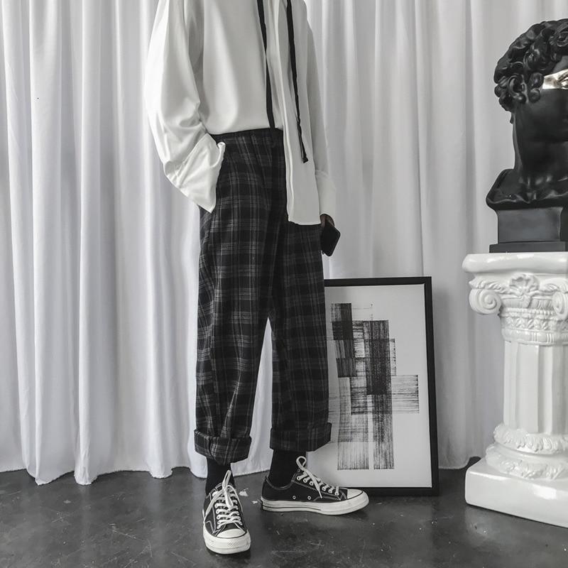 Winter Woolen Pants Men Fashion Retro Casual Plaid Trousers Man Streetwear Hip Hop Loose Drawstring Straight Pants Men M-2XL