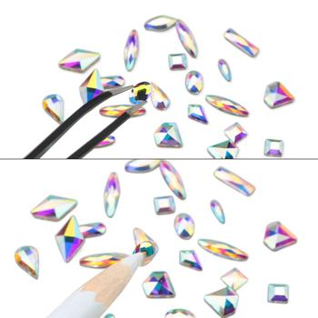 120 Pcs Multi Shapes Glass Crystal AB Rhinestones For Nail Art Craft, Mix 12 Style FlatBack Crystals 3D Decorations 6