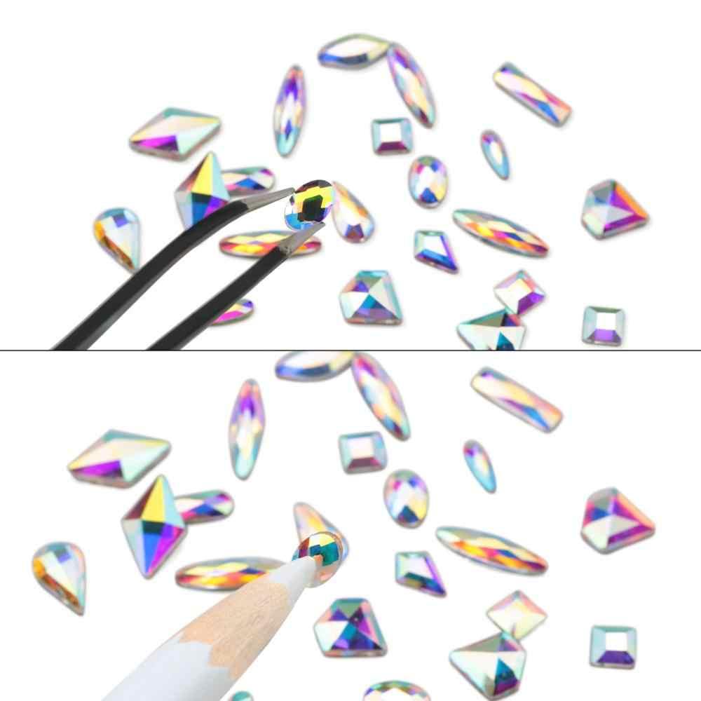 120 Pcs Multi Bentuk Kaca Kristal AB Berlian Imitasi untuk Kerajinan Seni Kuku, Campuran 12 Gaya Pipih Kristal 3D Dekorasi
