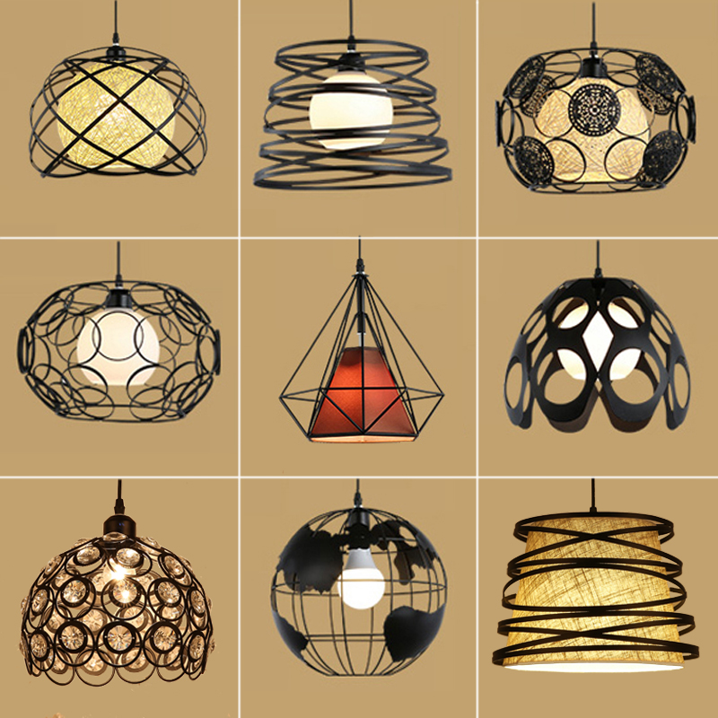 Modern Cage Pendant Light Iron Minimalist Retro Scandinavian Loft Pyramid Ceiling Metal Lamp Hanging Indoor Home Lighting