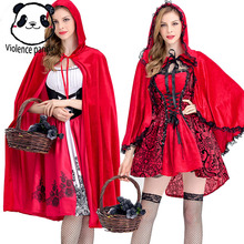 S-XL Adult Women Fairy Tale Fashion Womens Halloween Red Riding Hood Peasant Costuress