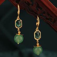 ethnic Spring and summer delicat green and pink crystal drop earring simple style vintage Retro earrings for women gift Jewelry