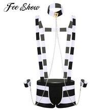 الرجال الكبار المثيرة الملابس الداخلية سجين زي دور اللعب ملابس النوم هالوين تأثيري مجموعة الملابس الداخلية مخطط الحمالة سراويل بوكسر
