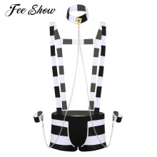 Men Adults Erotic Lingerie Prisoner Costume Role Play Night Wear Halloween Cosplay Lingerie Set Striped Suspender Boxer Shorts