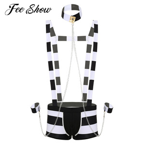 Image 1 - Men Adults Erotic Lingerie Prisoner Costume Role Play Night Wear Halloween Cosplay Lingerie Set Striped Suspender Boxer Shorts