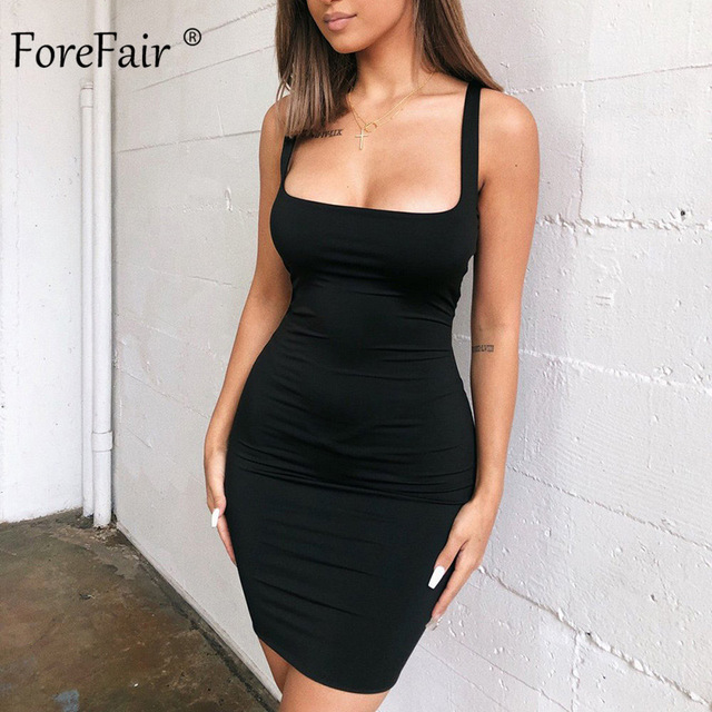 Forefair Solid Summer Dress Sexy Square Neck Casual Close Fitting Off Shoulder Short Bodycon Stretchy 2020 Dress Women 2