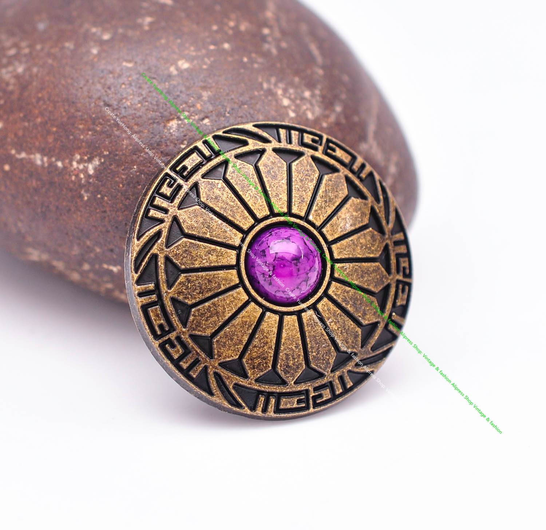 10pcs 30mm Vintage Brass Sun Flower Purple Turquoise Leathercraft Western Belt Wallet Case Concho For leather Decor Screwback