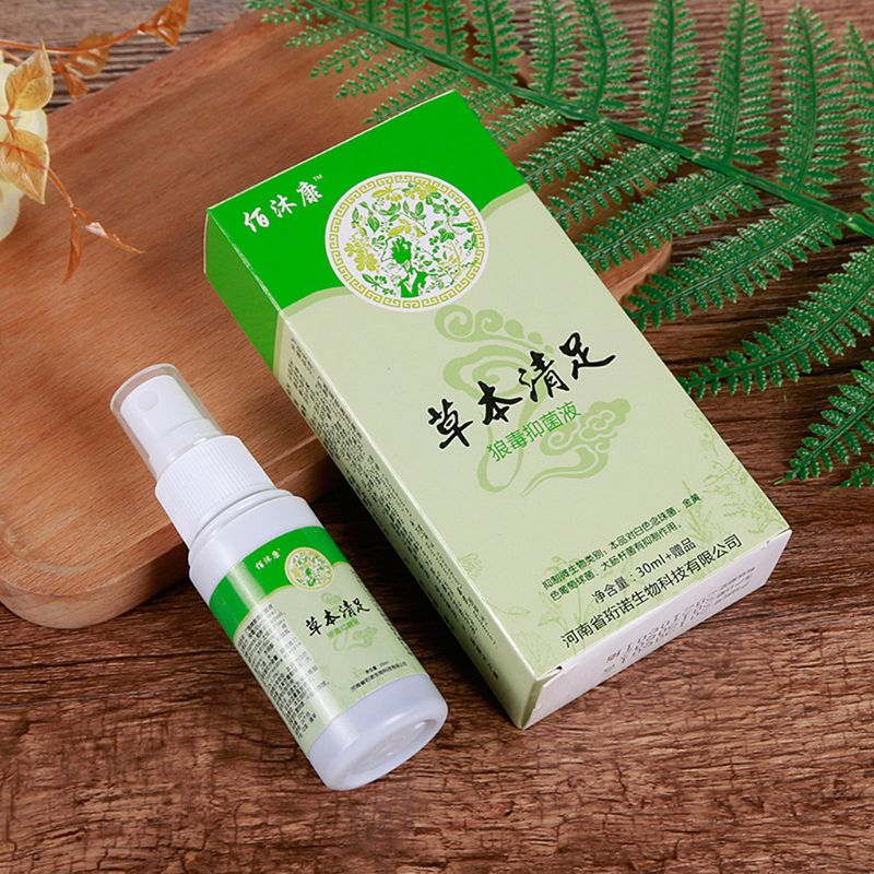 Herbal Foot Spray Antibacterial Deodorant Powder Anti Itch Sweat Feet Liquid