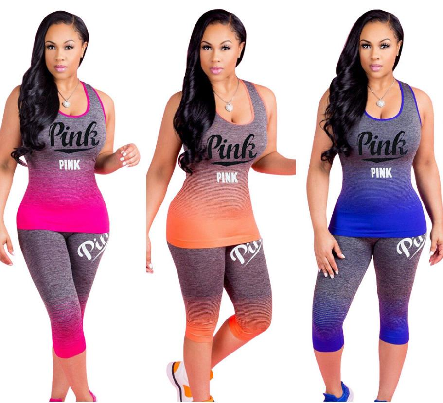 2019 Fashion Ladies Casual 2 Piece Women Set Hot Letters Printed O-Neck Sleeveless Ankle Pants Bodycon Tracksuit Set