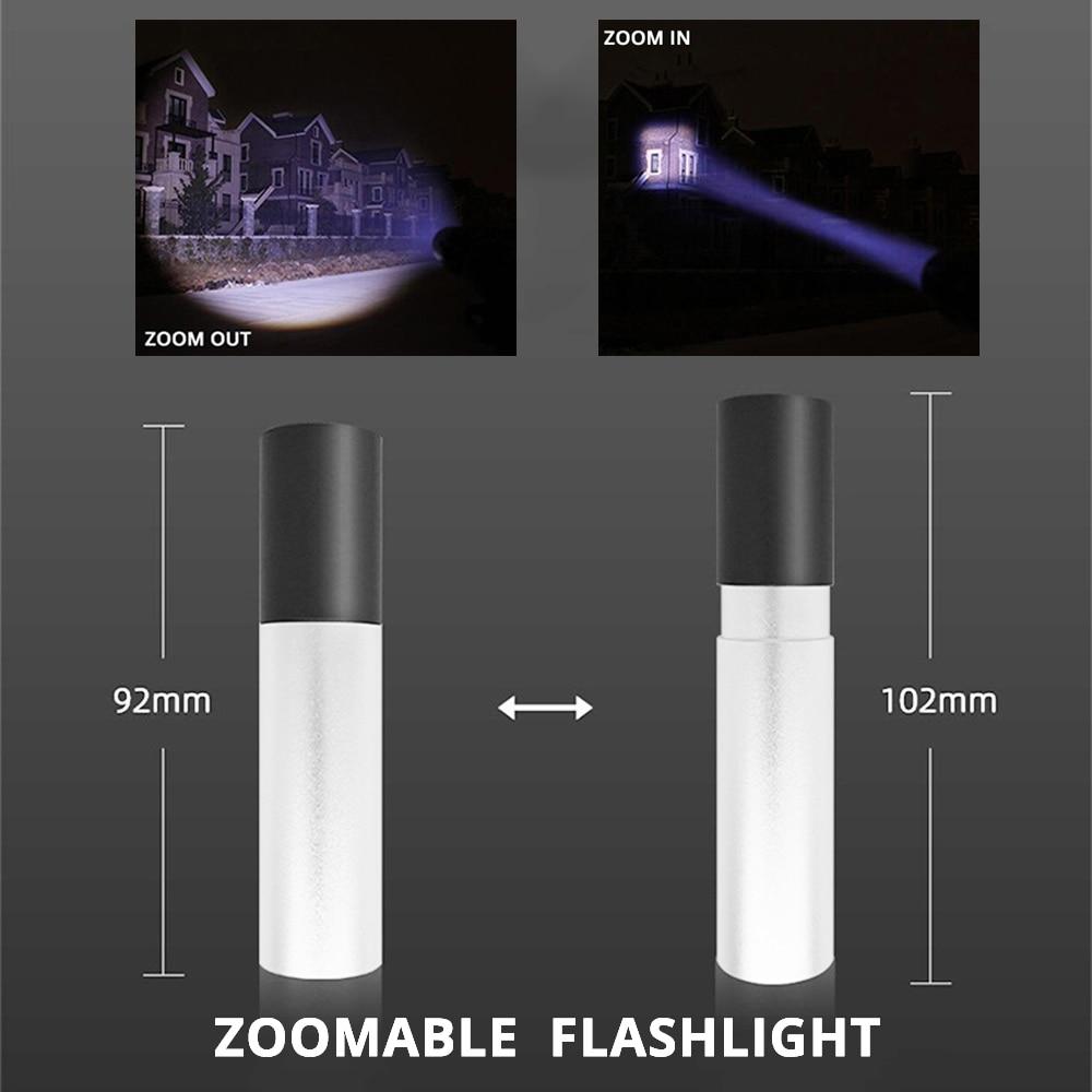 Image 4 - Usb recarregável mini lanterna led 3 modo de iluminação à prova  dwaterproof água tocha telescópica zoom elegante terno portátil para  iluminação noturnaLanternas