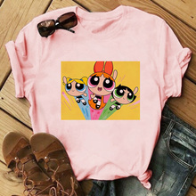 New Summer Kawaii Pink Tops Powerpuff T Shirt Girls Harajuku Funny Cartoon Printed Cute T-shirts Women's Fashion Clothing