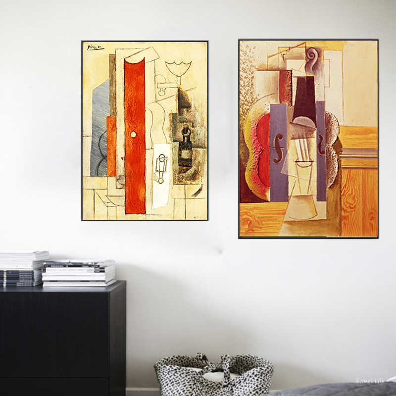 Picasso World Famous Abstract Guitar Canvas Painting Posters And Prints Wall Art Pictures For Living Room Bedroom Decor Artwork