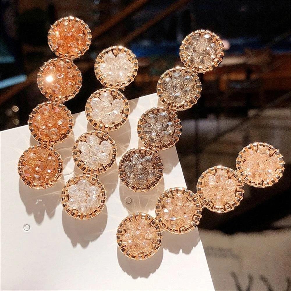 Crystal Rhinestones Hair Clip Hairpins Geometric Round Hairgrip Barrettes