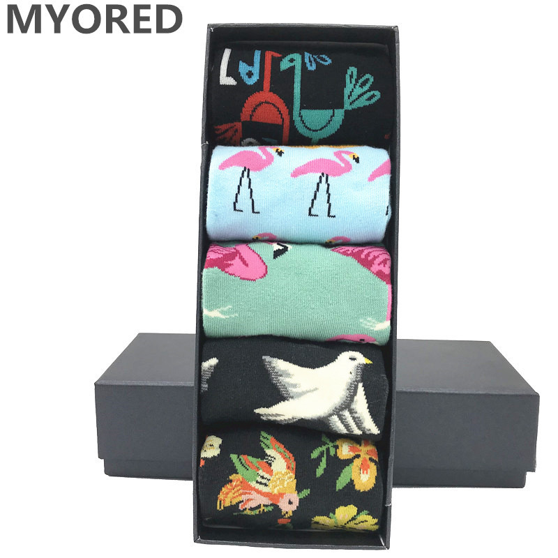 MYORED 5 Pair/lot Men's Cartoon Socks Cotton Animal Bird Flower Colorful Long Socks Funny Sock For Men Dress Wedding Gift NO BOX