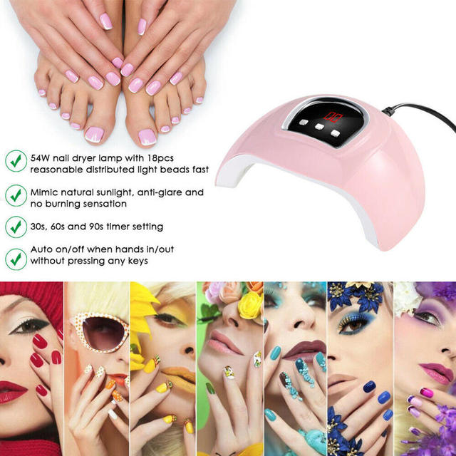 54W LED Nail Lamp for Manicure  Auto-Sensing Nail Dryer Machine For Curing UV Gel Nail Polish With LCD Display 30/60/90s Timer