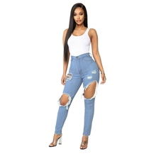 Sexy Hole high waist jeans Women Fashion Ripped Pencil denim ladies Summer Casaul skinny calca boyfriend