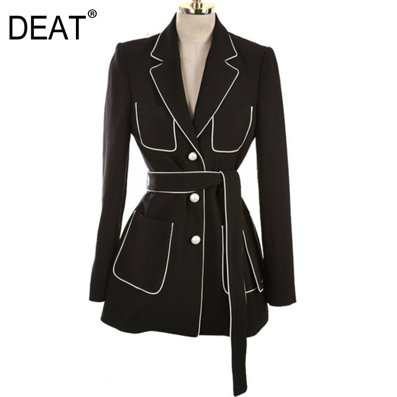 DEAT 2020 Summer New Coat Notched Collar Full Sleeve Sashes Empire Tunic Waist Color Spliced Ladies Fashion Blazer BC032