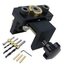 3 in 1 Doweling Jig Kit Pocket Hole Drilling Locator Jig Detachable Drill Guide Puncher Furniture Connecting Woodworking Tools