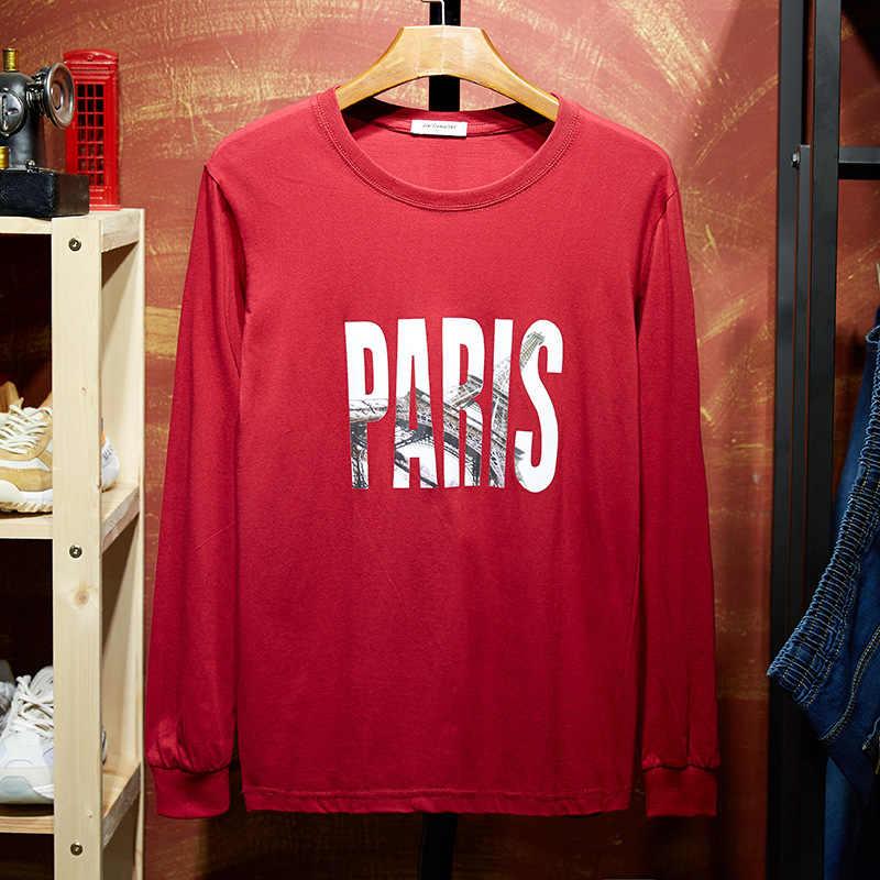긴 소매 티셔츠 남자 패션 가을 새로운 탑스 편지 o-넥 tshirt 캐주얼 streetwear 면화 2019 7xl 8xl 9xl 10xl 티셔츠