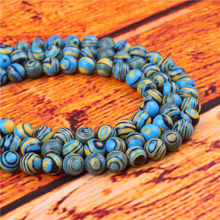 Blue Malachite Natural Stone Bead Round Loose Spaced Beads 15 Inch Strand 4/6/8/10/12mm For Jewelry Making DIY Bracelet