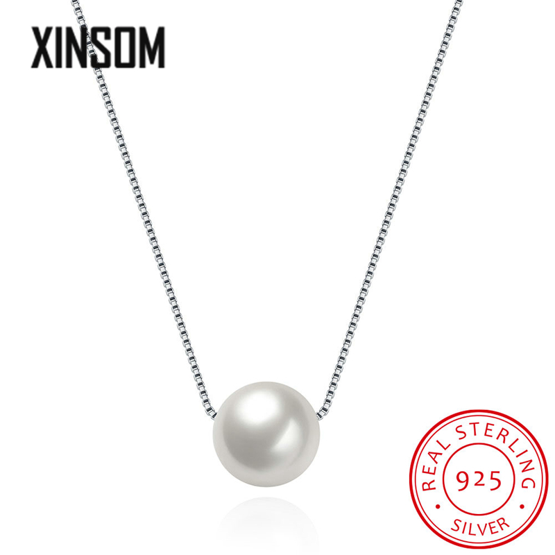 XINSOM Pearl Necklace For Women 100% Real 925 Sterling Silver Necklace Party Wedding Fine Jewelry Gifts Dropshipping Wholesale