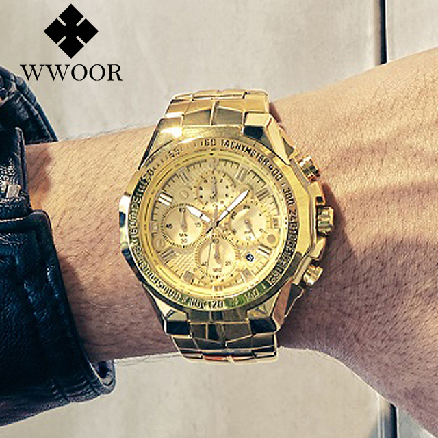 WWOOR Men's Big Dial Luxury Chronograph Calendar Male Quartz Watches 1