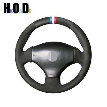 Ręcznie ściegu czarne zamszowe osłona na kierownicę do samochodu dla Peugeot 206 1998-2005 206 SW 2003-2005 206 CC 2004 2005 tanie i dobre opinie HKOADE CN (pochodzenie) Suede Kierownice i piasty kierownicy 0 25kg Protect steering wheel 16cm 120-120 Iso9001 38cm 26*16*6