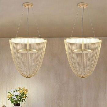 Современные подвесные светильники с металлическим покрытием + алюминиевая цепочка, подвесной светильник, светодиодный светильник на подтя...