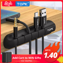TOPK Cable Organizer Silicone USB Cable Winder Desktop Tidy Management Clips Cable Holder for Mouse Headphone Wire(China)