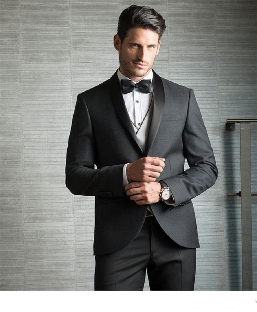 Elegant Charcoal Groom Groomsmen Wedding Tuxedos Formal Business Party Man Slim Fitted Suit Custom (Jacket+Vest+Pants) 1
