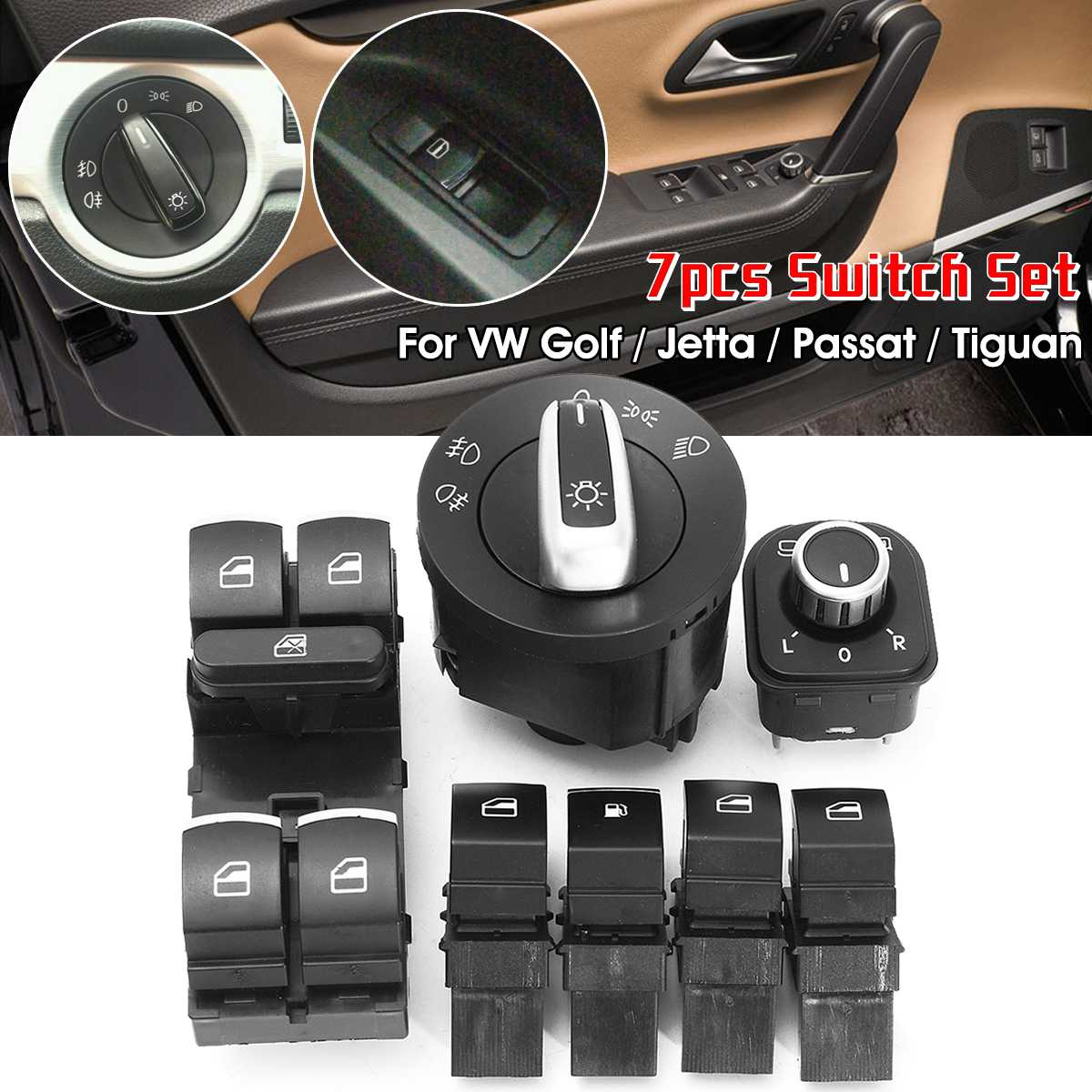 7pcs Window Mirror <font><b>Headlight</b></font> Control Switch Kit 5ND 941 431 A 5ND959857 For <font><b>VW</b></font> <font><b>Golf</b></font> MK5 MK6 MK7 Jetta <font><b>MK3</b></font> MK4 Passat B6 B7 image