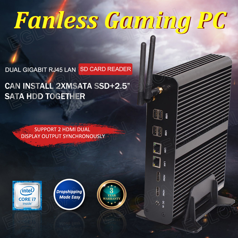 Eglobal Intel Core I7 4650U Mini Computer PC Barebone Fanless Rugged Box 4K Dual Lan Dual HDMI SD Card Optical 8 USB Samll PC