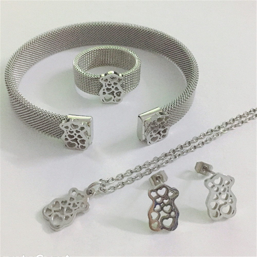 new bear jewelry set Stainless Steel Mesh Bangles ring necklace bracelet earrings wedding engagement party bear jewelry gifts