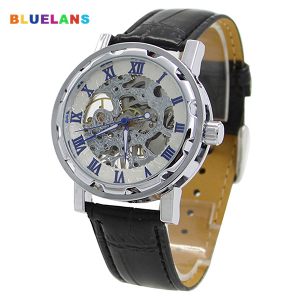 Classic Men Faux Leather Band Roman Numerals Hand-Wind Mechanical Watches Sports Army Wristwatch Automatic Skeleton Watch