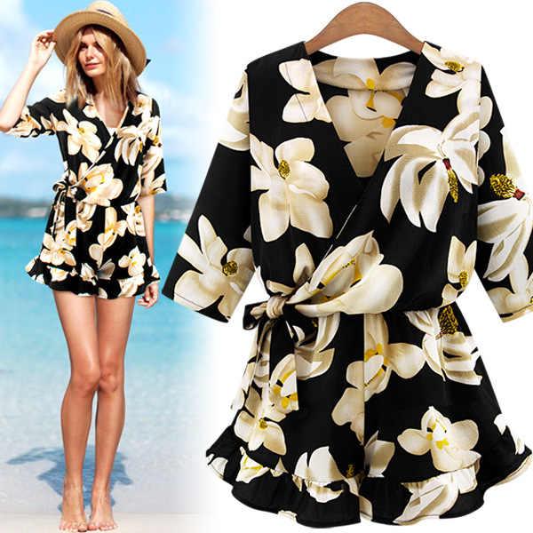 0791 europa i ameryka damska sukienka V-neck pajacyk dziecięcy z krótkim rękawem spódnica Fashion Flower jednoczęściowe spodnie