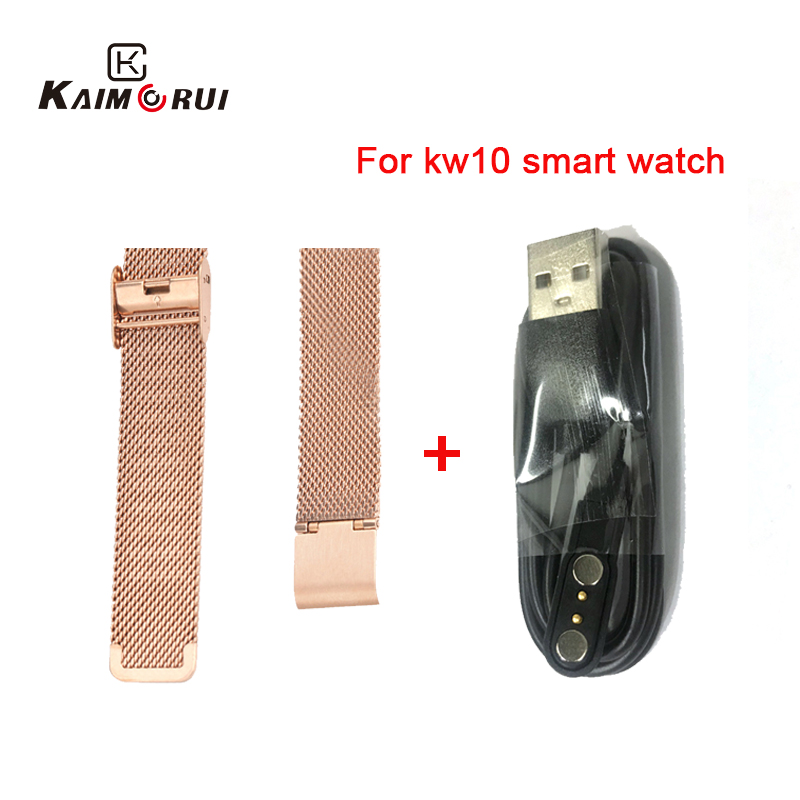 Original KW10 Smart Watch Strap Stainless Steel/Leather KW10 KW20 Smartwatch Charger Cable For KW10 KW20 Watch Replacement Strap