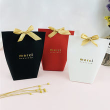5pcs Merci Thank you Black White Bronzing Candy Bag Thank You Wedding Favors Gift Box Package Birthday Party Favor Bags(China)