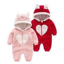 新2019秋と冬の長袖新生児かわいい暖かい付きスーツ少年少女服幼児服
