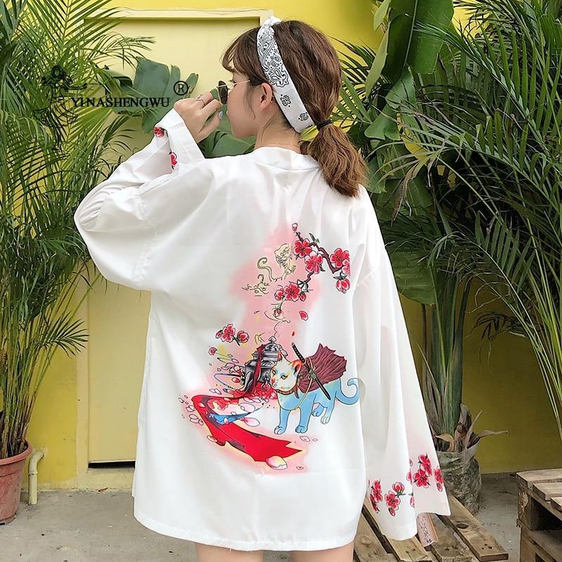 Yukata Women Japanese Kimono Cardigan Cat Printed Long Sleeve Shirt Casual Kimonos Femme Asian Kimono Cosplay Costumes Kawaii