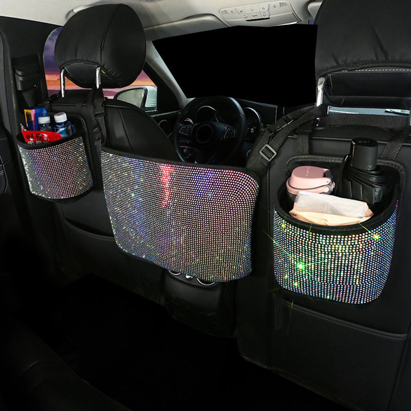 multi-bolsos banco de trás do carro estiva tidying mulher